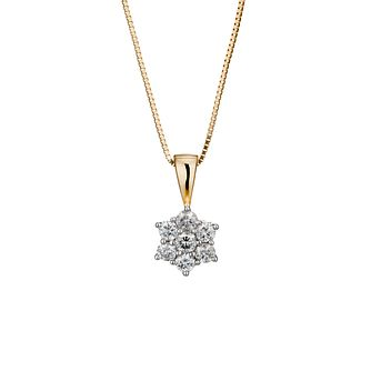 18ct gold one carat diamond daisy cluster pendant - Product number 6334741