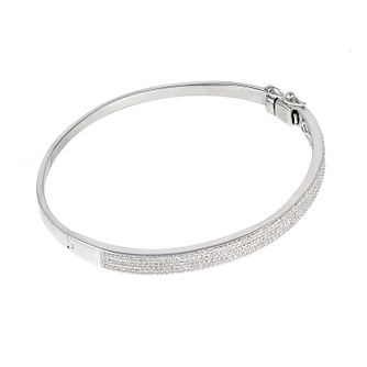 9ct white gold three 0.25ct diamond bangle - Product number 6335101