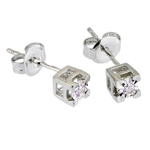 9ct White Gold Diamond Stud Earrings - Product number 6339786