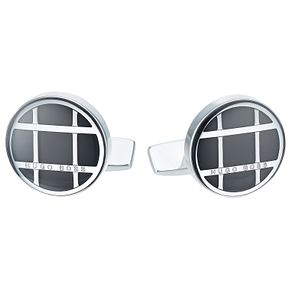 Hugo Boss Stainless Steel Black Round Cufflinks - Product number 6344739