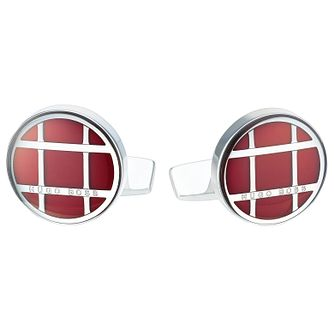 Hugo Boss Stainless Steel Red Round Cufflinks - Product number 6344747