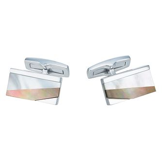 Hugo Boss Stainless Steel Mother-of-Pearl Cufflinks - Product number 6344755
