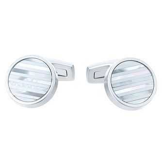 Hugo Boss Stainless Steel Mother-of-Pearl Stripes Cufflinks - Product number 6344763