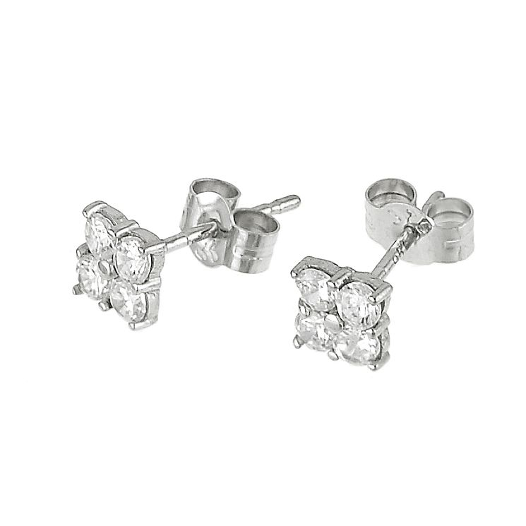 9ct white gold four cubic zirconia stud earrings - Product number 6348734