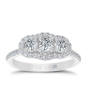 Leo Diamond 18ct White Gold 1ct Brilliant Halo Trilogy Ring - Product number 6349285