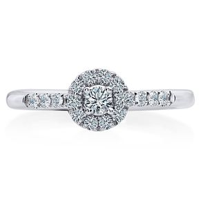 Leo Diamond 18ct White Gold 1/3ct Diamond Halo Ring - Product number 6350097