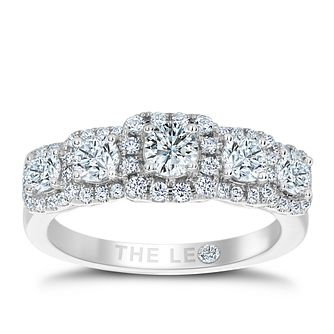 Leo Diamond 18ct White Gold 1ct Diamond 5 Stone Halo Ring - Product number 6351980