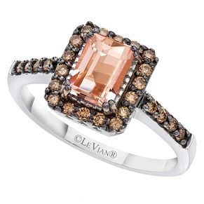 Le Vian 14ct Vanilla Gold 1/4ct Diamond & Peach Ring - Product number 6355757
