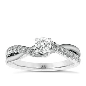 The Diamond Story 18ct White Gold 1/2ct Diamond Twist Ring - Product number 6356982