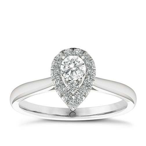 The Diamond Story 18ct White Gold 0.33ct Diamond Pear Ring - Product number 6357644