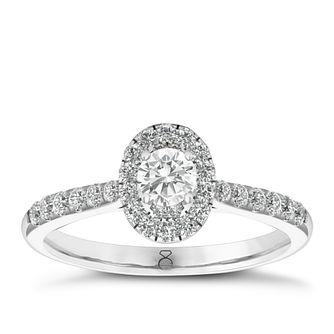 The Diamond Story 18ct White Gold 0.50ct Diamond Oval Ring - Product number 6358594