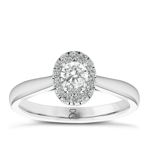 The Diamond Story 18ct White Gold 0.33ct Diamond Oval Ring - Product number 6360181
