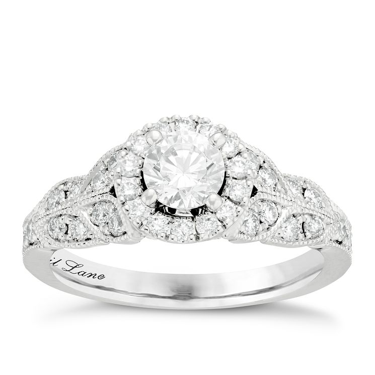 Neil Lane Bridal 14ct White Gold 0.90ct Diamond Halo Ring - Product number 6361544