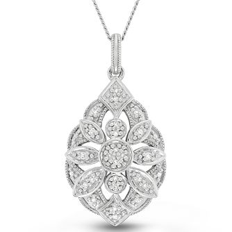 Neil Lane Designs Sterling Silver Diamond Sunburst Pendant - Product number 6362893