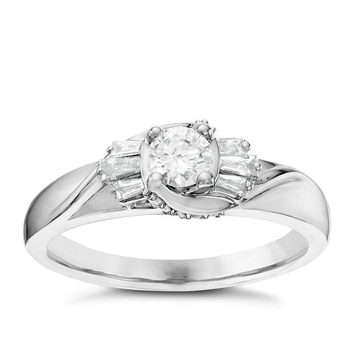 18ct White Gold 0.40ct Round & Baguette Diamond Ring - Product number 6363296
