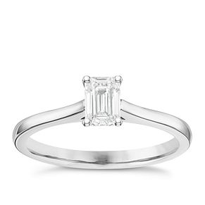 18ct White Gold 1/2ct Diamond Emerald Cut Solitaire Ring - Product number 6363695
