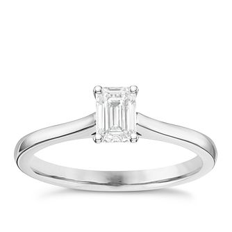 18ct White Gold 0.50ct Diamond Emerald Cut Solitaire Ring - Product number 6363695