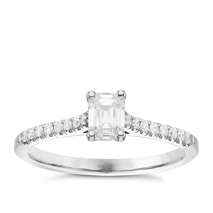 18ct White Gold 0.66ct Emerald Cut Diamond Solitaire Ring - Product number 6363822