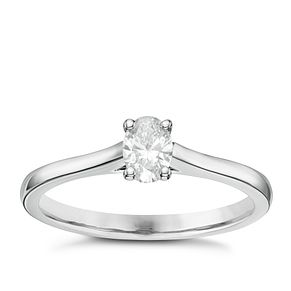 18ct White Gold 1/3ct Oval Cut Diamond Solitaire Ring - Product number 6363962