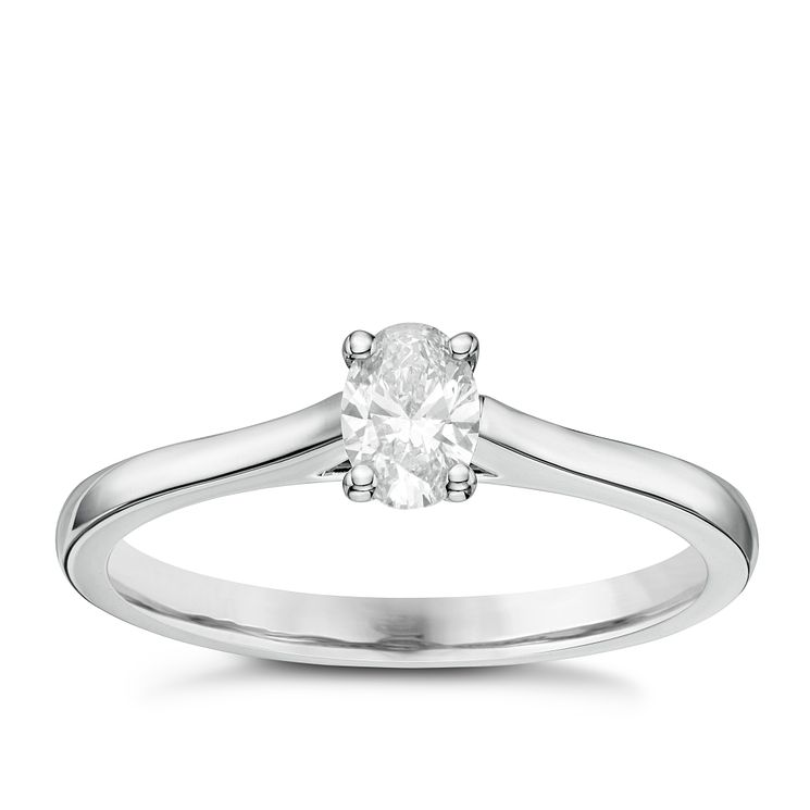 18ct White Gold 0.33ct Oval Cut Diamond Solitaire Ring - Product number 6363962