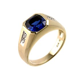 9ct gold diamond created sapphire ring - Product number 6364071