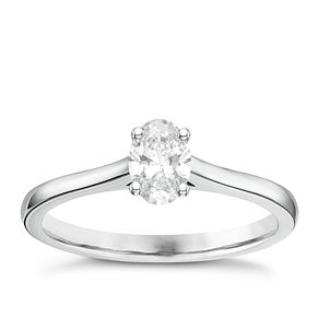 18ct White Gold 1/2ct Oval Cut Diamond Solitaire Ring - Product number 6364225