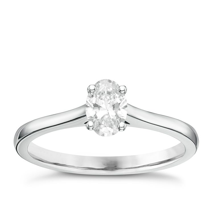 18ct White Gold 0.50ct Oval Cut Diamond Solitaire Ring - Product number 6364225