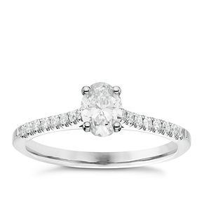 18ct White Gold 2/3ct Oval Cut Diamond Solitaire Ring - Product number 6364357