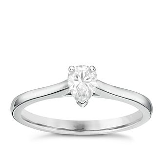 18ct White Gold 1/3ct Pear Cut Diamond Solitaire Ring - Product number 6364497