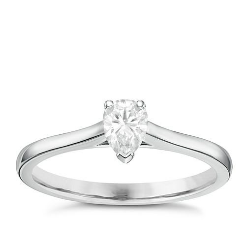 18ct White Gold 0.33ct Pear Cut Diamond Solitaire Ring - Product number 6364497