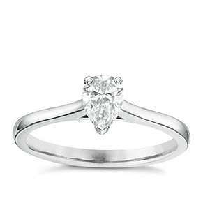 18ct White Gold 1/2ct Pear Cut Diamond Solitaire Ring - Product number 6364624