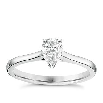 18ct White Gold 0.50ct Pear Cut Diamond Solitaire Ring - Product number 6364624