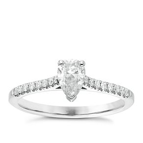 18ct White Gold 2/3ct Pear Cut Diamond Solitaire Ring - Product number 6364756