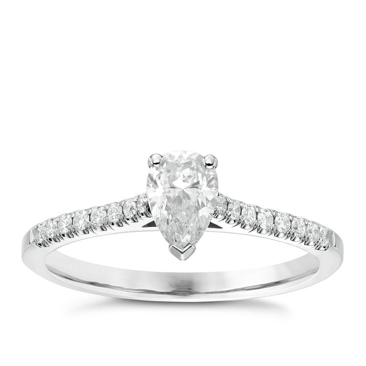 18ct White Gold 0.66ct Pear Cut Diamond Solitaire Ring - Product number 6364756