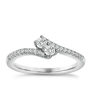 Ever Us 14ct White Gold 0.33ct Diamond Two Stone Twist Ring - Product number 6364888