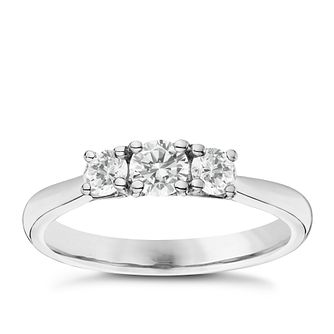 Platinum 1/2ct 3 Stone Diamond Ring - Product number 6365272