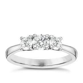 Platinum 3/4ct 3 Stone Diamond Ring - Product number 6365418