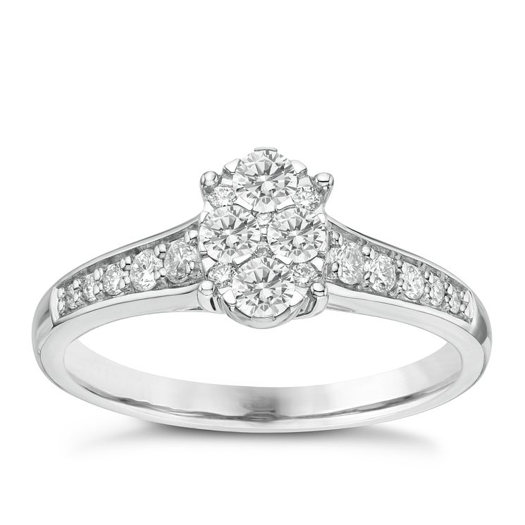Platinum 0.45ct Diamond Oval Shaped Cluster Ring - Product number 6365663
