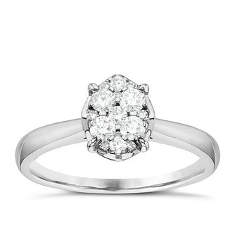 Platinum 0.30ct Diamond Oval Shaped Cluster Ring - Product number 6366074