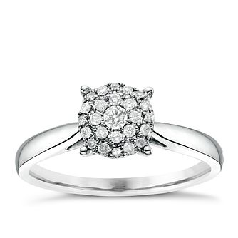 18ct White Gold 0.15ct Diamond Round Cluster Ring - Product number 6366333