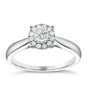 9ct White Gold 1/4ct Diamond Round Illusion Halo Ring - Product number 6366465
