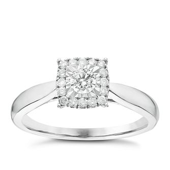 9ct White Gold 0.25ct Diamond Cushion Illusion Halo Ring - Product number 6366600