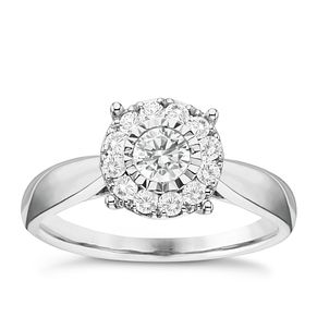 9ct White Gold 1/2ct Diamond Round Illusion Halo Ring - Product number 6366732