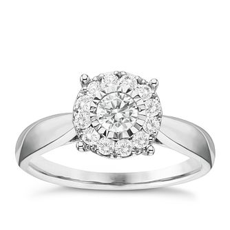 9ct White Gold 0.50ct Diamond Round Illusion Halo Ring - Product number 6366732