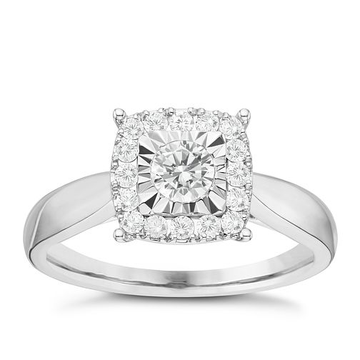 9ct White Gold 0.50ct Diamond Cushion Illusion Halo Ring - Product number 6366864