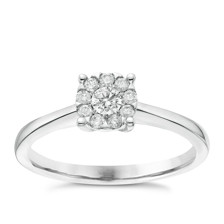 9ct White Gold 0.20ct Diamond Solitaire Cluster Ring - Product number 6367127