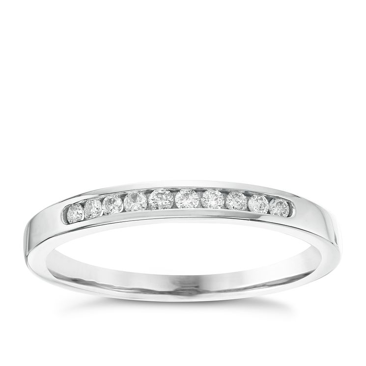 18ct White Gold 0.10ct Diamond 10 Stone Eternity Ring - Product number 6367259