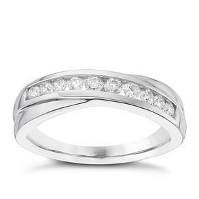 18ct White Gold 1/3ct Diamond Crossover Eternity Ring - Product number 6367917