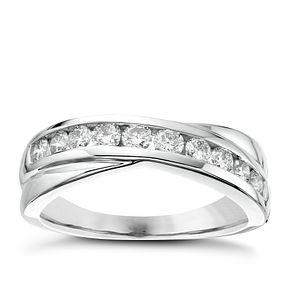 18ct White Gold 1/2ct Diamond Crossover Eternity Ring - Product number 6368050