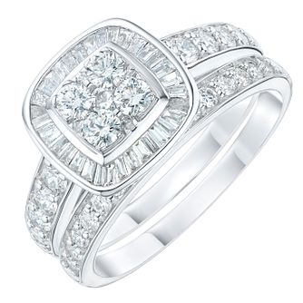 Platinum 1ct 4 Stone Round Cut Diamond Bridal Set - Product number 6368328